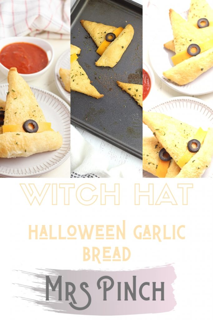Halloween garlic bread witch hat shapes