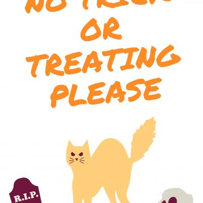 No trick or treating sign (free printable)