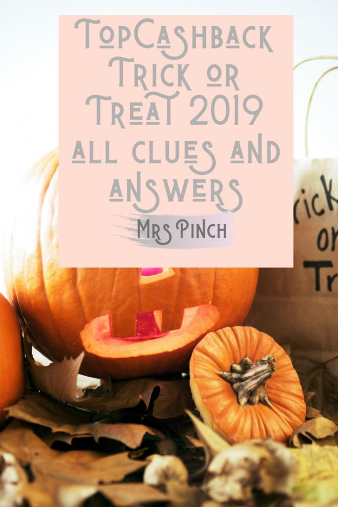 TopCashback Trick or Treat 2019 all clues and answers